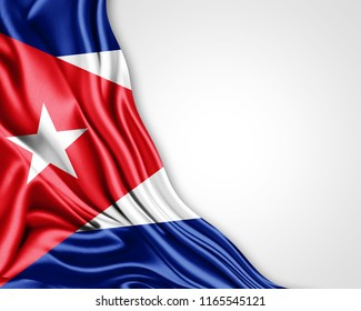 Cuba flag of silk with copyspace for your text or images and white background-3D illustration