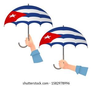 Cuba flag umbrella. Social security concept. National flag of Cuba  illustration