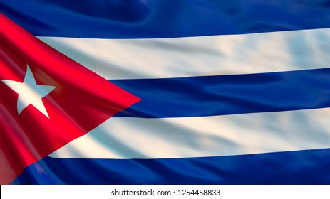 Cuba flag. Waving flag of Cuba. 3d illustration