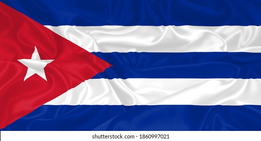 Cuba Flag waving. National flag of Cuba with waves and wind. Official colors and proportion. Cuban Flag