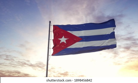 Cuba flag waving in the wind, dramatic sky background. 3d illustration.