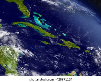 Cuba, Jamaica, Haiti and Dominican Republic with surrounding region as seen from Earth's orbit in space. 3D illustration with detailed planet surface. Elements of this image furnished by NASA.