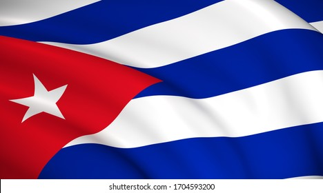 Cuba National Flag (Cuban flag) - Waving background illustration. Highly detailed realistic 3D rendering