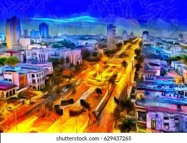 Cuba. Night Havana. The top view