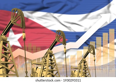 Cuba oil industry concept, industrial illustration - rising up chart on Cuba flag background. 3D Illustration
