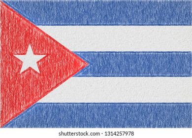 Cuba painted flag. Patriotic drawing on paper background. National flag of Cuba