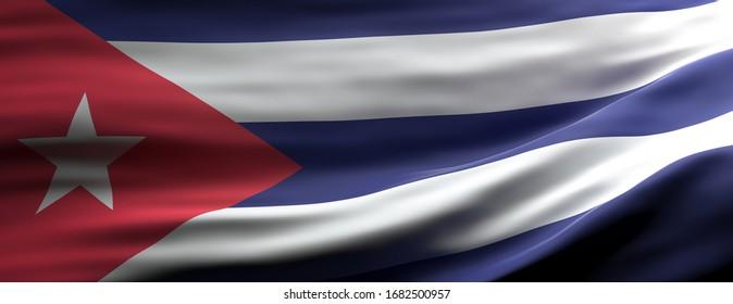 Cuba sign symbol. Cuban national flag waving texture background, banner. 3d illustration