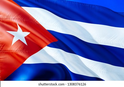 Cuban flag. 3D Waving flag design. The national symbol of Cuba, 3D rendering. National colors and National South America flag of Cuban for a background. Cuban Americas sign on smooth silk