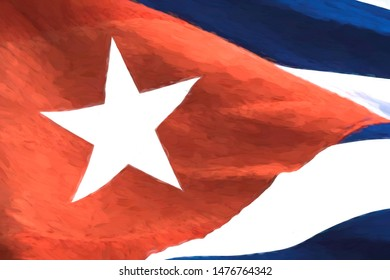 A Cuban National Flag has a Monet-style filter applied as a creative resource.