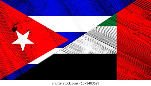 Cuban and United Arab Emirates flag on wooden boards