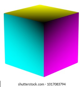 A cube of the 4 CYMK including the black colours over a white background