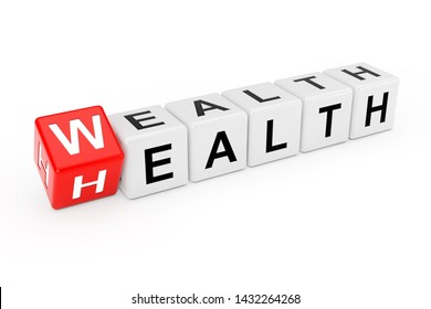 Cube Blocks with the Transition from Health to Wealth Word on a white background. 3d Rendering