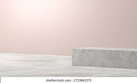 Cube box 3d render concrete white marble pedestal steps isolated on white background, abstract minimal concept, blank space, simple clean design, luxury minimalist mockup template for product