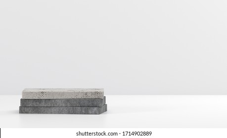 Cube box 3d render concrete white cement pedestal steps isolated on white background, abstract minimal concept, blank space, simple clean design, luxury minimalist mockup template for product