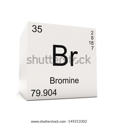 Cube Bromine Element Periodic Table Isolated Stock Illustration