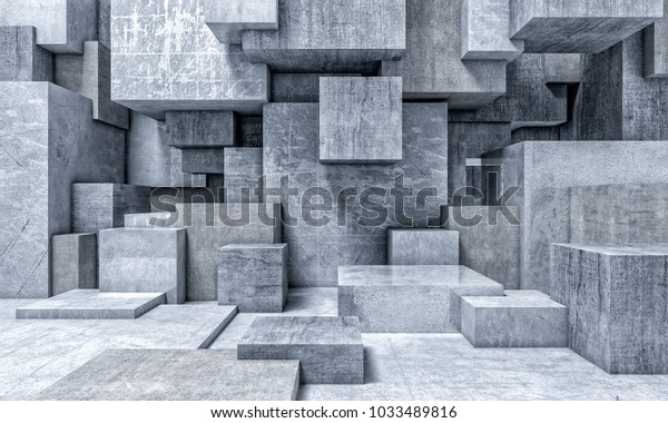 3d cube concrete abstract wall mural wallpaper
