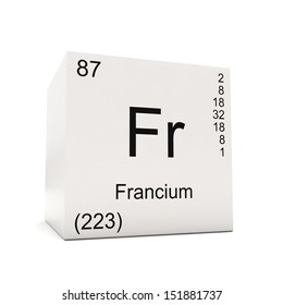 Cube Of Francium   Element Of The Periodic Table Isolated On White  Background