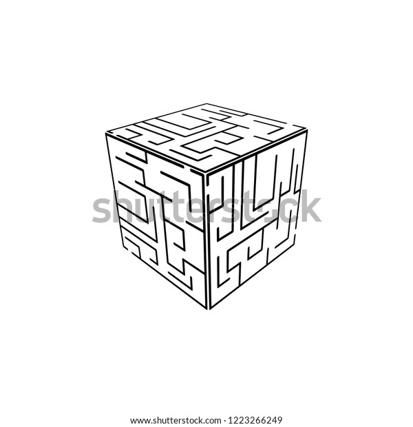 Cube Maze Icon Element Problem Solving Stock Illustration 1223266249