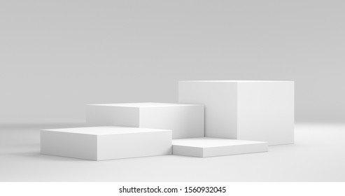 Cube Pedestal Template. Studio Scene For Product Display. 3D rendering