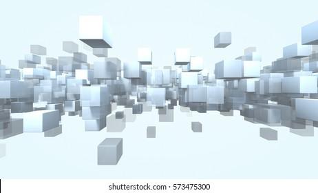 Cube shape particles transparent. 3D rendering