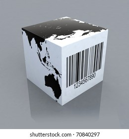 cube with world map and barcode 3d illustration