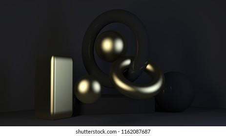 cube-box black marble set minimal cream background 3d rendering