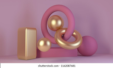 cube-box pink marble set minimal cream background 3d rendering