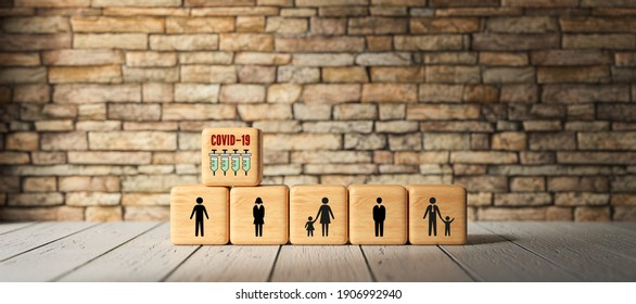 cubes with person and syringe symbols symbolizing allocation problem of vaccination on wooden background - 3d illustration