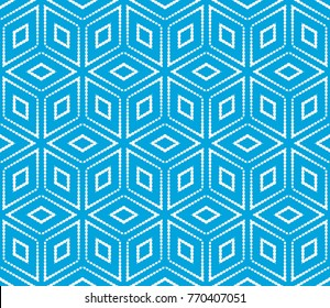 Cubes Seamless Pattern.  Texture. Blue color