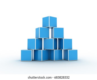 Cubes stack pyramid shape on white background. 3d render