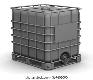 The cubic capacity (plastic container). Intermediate Bulk Container. Cubic container (plastic container for liquids) standing on the white surface. Isolated. The three-dimensional illustration