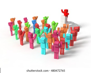 cubic characters meeting. colored characters version. isolated on white. 3d illustration.