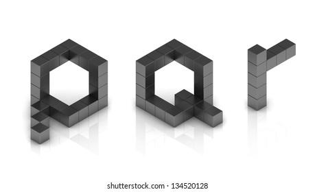 cubical 3d font letters p q r