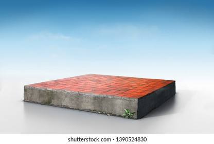 cubical concrete land geology cross section with red bricks, 3D Illustration rough tile floor ecology cut away isolated on blue sky
