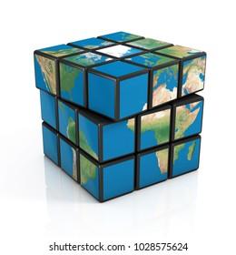 Cubical Earth, global politics 3d concept, globalization, 3d rendering