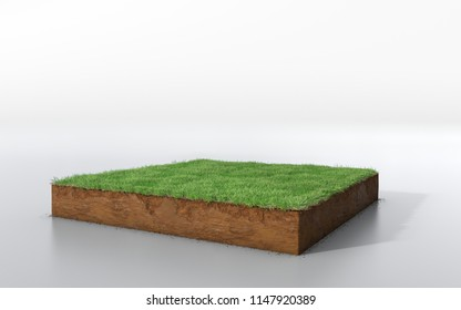 cubical soil land geology cross section with green grass, 3D Illustration earth mud ecology cut away isolated