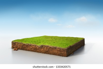 cubical soil land geology cross section with green grass, 3D Illustration ground ecology isolated on blue sky