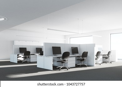 Cubicle office interior with white walls, white desks, computers and original ceiling lamps. A corner. 3d rendering mock up