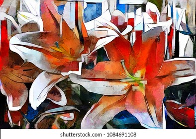 The cubist style of Picasso. The buds of lilies. Modern abstract art in the style of cubism. The picture is made by oil on canvas with elements of pastel painting.