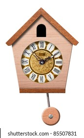 Cuckoo Clock isolated on white background, clipping path.