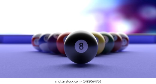 Cue ball, billiard table. Pool balls in a triangle shape, blue color table, closeup view. 3d illustration