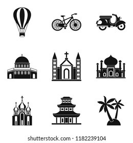 Cultural distinction icons set. Simple set of 9 cultural distinction icons for web isolated on white background