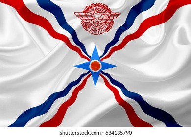 Cultural flag of Assyrian people, with waving fabric texture