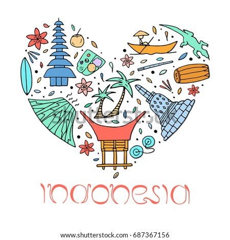 Culture Architecture Indonesia Hand Drawn Symbols 스톡 일러스트 687367156  Shutterstock