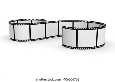 Culved Film strip isolated with white background, 3d rendering