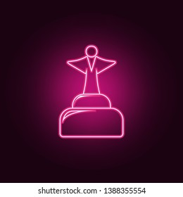 cup with an angel icon. Elements of Sucsess and awards in neon style icons. Simple icon for websites, web design, mobile app, info graphics