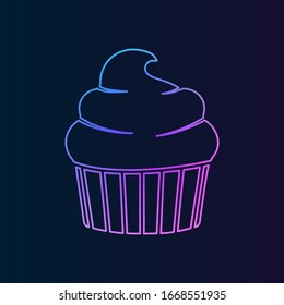 cup cake nolan icon. Simple thin line, outline of Fast food icons for UI and UX, website or mobile application on dark blue gradient background