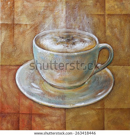 Royalty Free Stock Illustration Of Cup Coffee Acrylic Textured