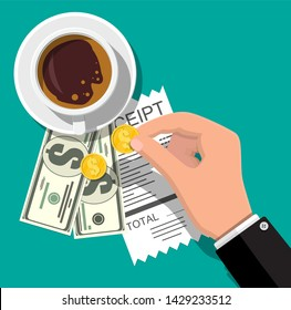 Cup with coffee, cash and coins, cashier check. Thanks for the service in the restaurant. Money for servicing. Good feedback about the waiter. Gratuity concept. illustration in flat style