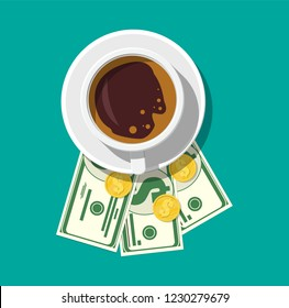 Cup with coffee, cash and coins. Thanks for the service in the restaurant. Money for servicing. Good feedback about the waiter. Gratuity concept. illustration in flat style